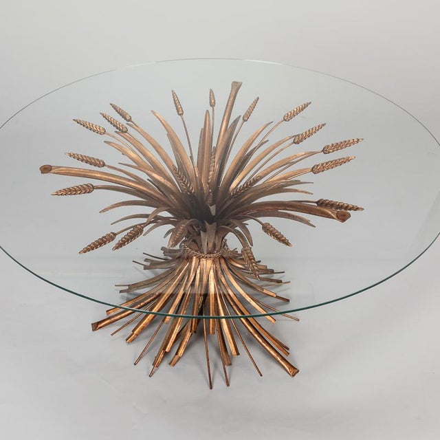 Hollywood Regency Mid Century Gilded Metal Wheat Sheaf Table For Sale - Image 3 of 9