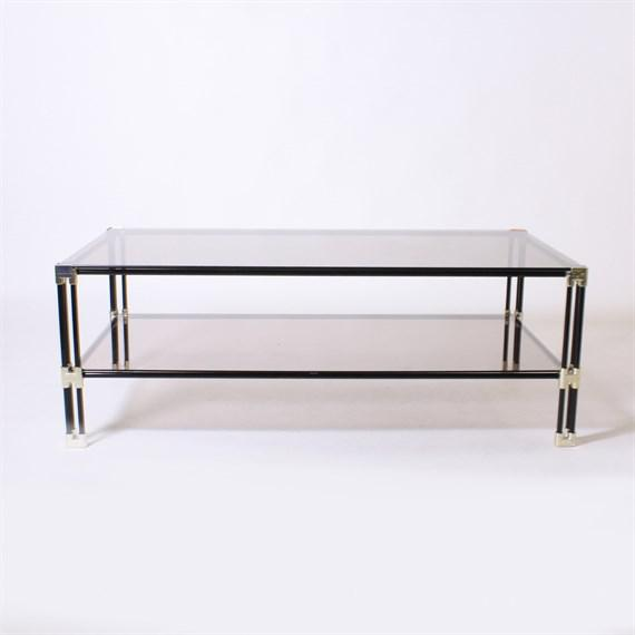 Mid-Century Modern Silver and Black Metal Coffee Table With Dark Glass Top, C. 1950 For Sale - Image 3 of 3