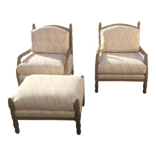 Vintage Mid Century Marge Carson Carved French Bergere Chairs and Ottoman- 3 Pieces For Sale