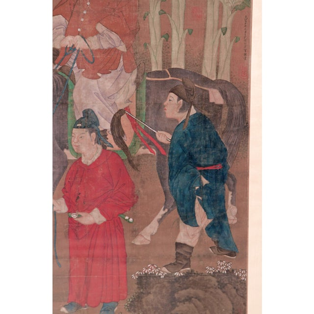 Mid 19th Century Chinese Scroll Painting of a Dignitary on Horseback For Sale - Image 5 of 11
