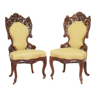 English 19th Century Belter Style Rosewood Victorian Chairs - a Pair For Sale