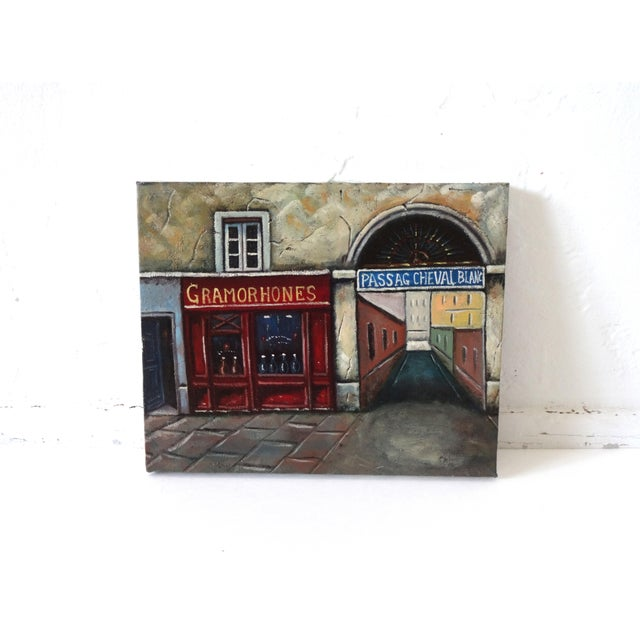 Vintage Painting of Paris, France, Storefronts and the Passage Du Cheval Blanc For Sale - Image 4 of 8