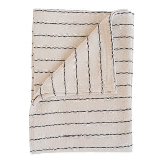 Cotton Pinstripe Throw in Black For Sale