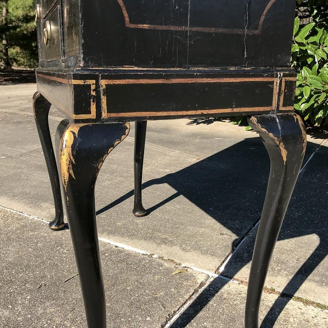 Black 19th Century Ebonized & Hand-Painted Chinoiserie Raised Cabinet For Sale - Image 8 of 12