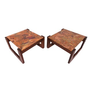 Percival Lafer Copper Patchwork and Jacaranda End Tables, Circa 1970s - a Pair For Sale