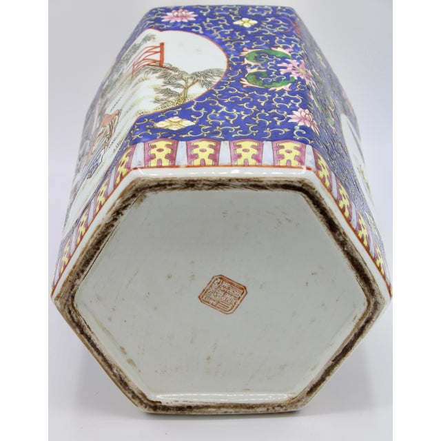 Large Antique Chinese Enamel Ceramic Vase For Sale - Image 11 of 13