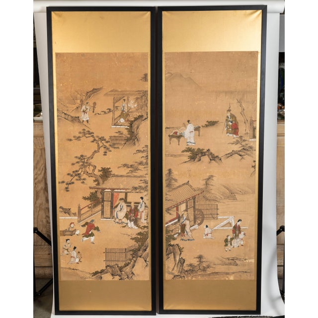 Antique Japanese screen panels hand-painted on rice paper with gold leaf, circa 1850-1860. Panels are newly framed. They...