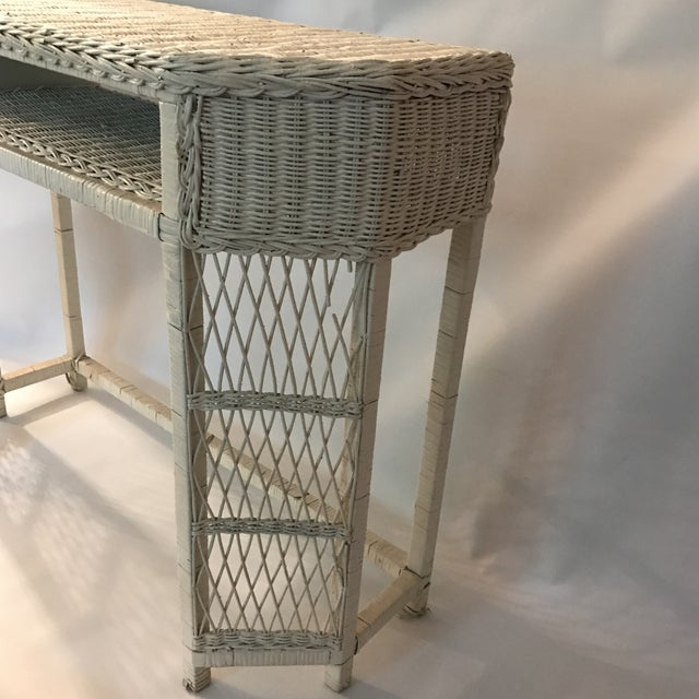 White Wicker Console or Dressing Table For Sale - Image 4 of 13