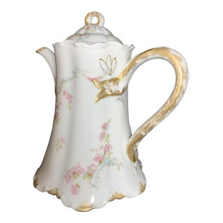 Antique French Limoges Porcelain Tea Pot With Petite Pink Roses, Blue Scrolls and 24k Gold Trim For Sale