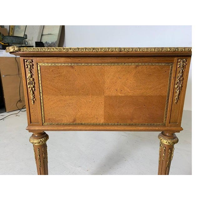 French Style Mahogany and Satinwood Writing Desk With Ormolu For Sale - Image 9 of 13
