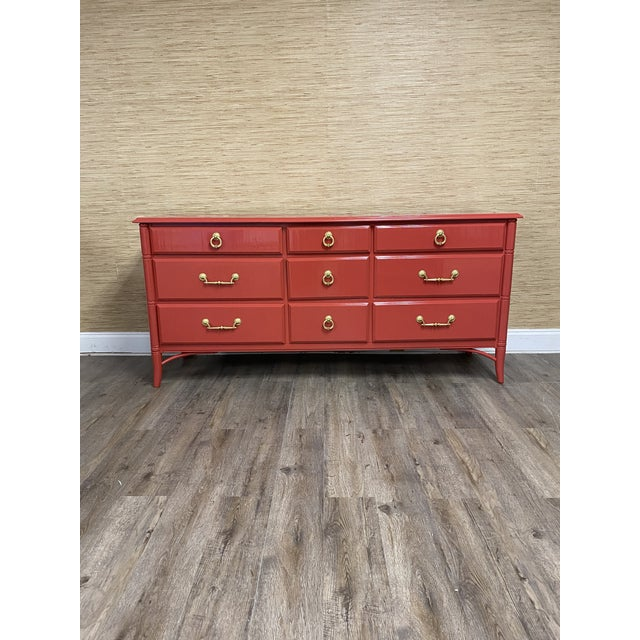 Red Vintage Thomasville Faux Bamboo Red 9 Drawer Dresser For Sale - Image 8 of 8