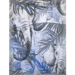 """Hand Painted French Panel """"Blue Elephant"""""""
