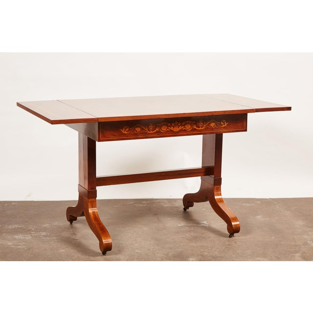 Early 19th Century 19th Century Danish Mahogany Empire Drop Leaf Table with Intarsia Inlay For Sale - Image 5 of 9