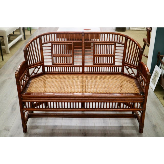 Vintage Bamboo & Cane Settee - Image 5 of 5