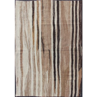 Stripe Design Turkish Vintage Flat-Weave Rug in Shades of Brown, Camel, Tan, and Ivory For Sale