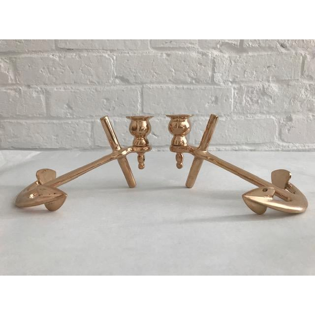 Metal Nautical Brass Anchor Candle Holders - a Pair For Sale - Image 7 of 13