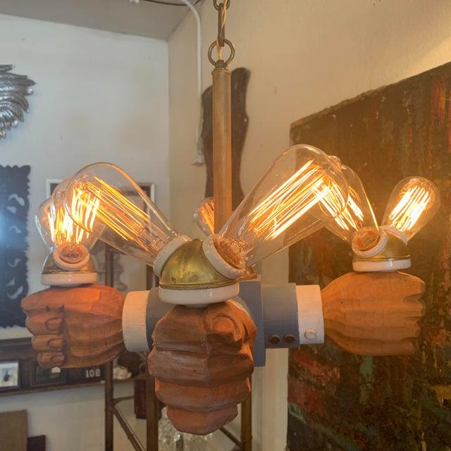Antique Wooden Hands Chandelier For Sale - Image 4 of 10