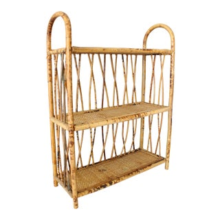Early 20th Century Vintage Burnt Bamboo Arched 3 Tier Shelf For Sale