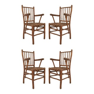 Rustic Old Hickory Arm Chairs - Set of 4 For Sale