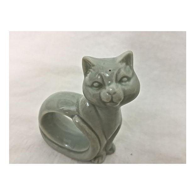 Ironstone Celadon Cats Napkin Rings - Set of 4 - Image 5 of 9