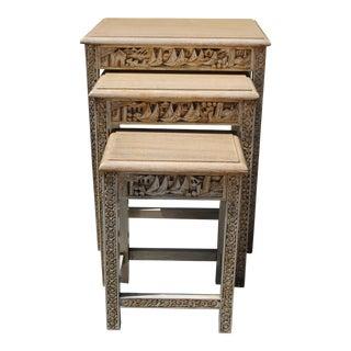 Vintage Carved Wood Oriental Motif Nesting Tables - Set of 3 For Sale