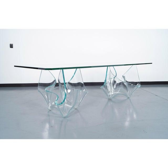 Danish Modern Vintage Sculptural Glass Dining Table by Laurel Fyfe For Sale - Image 3 of 9