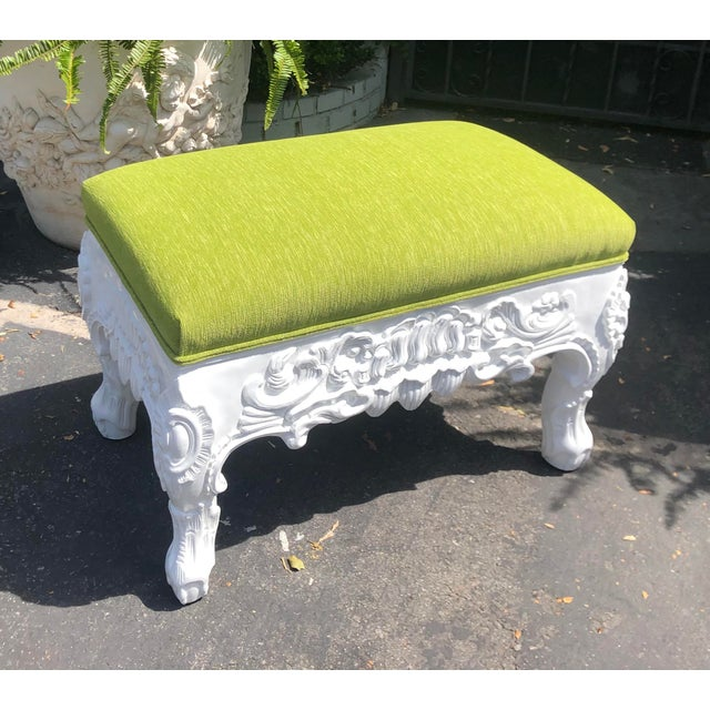 Charles Pollock Hollywood Regency Chartreuse Velvet Ottoman Footstool Bench. This listing is for one bench, but we...