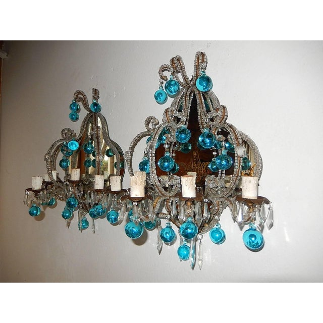 French Micro Beaded Mirror Aqua Blue Murano Drops Sconces For Sale - Image 10 of 10