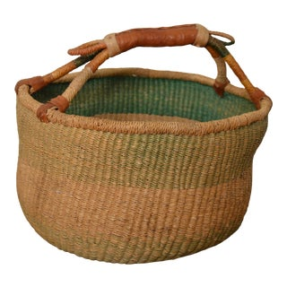 Mid 20th Century Woven Basket With Leather Handles For Sale