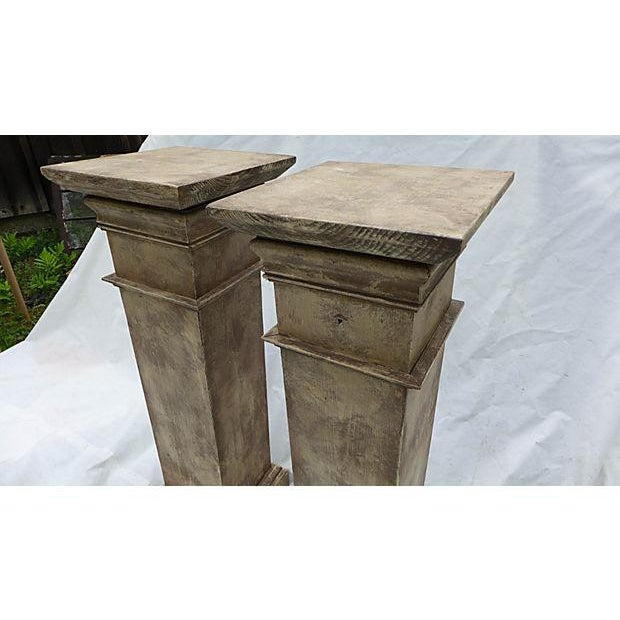 Architectural Decor Finish Wood Pedestals - A Pair - Image 5 of 7