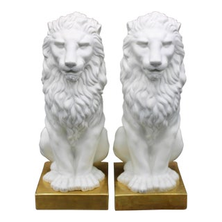 Italian Mottahedeh Ceramic Mantle Lions - a Pair For Sale