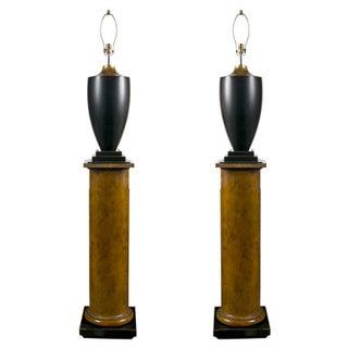 Lamps on Column Pedestals - A Pair For Sale