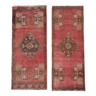 "Soft Color Pair of Small Turkish Rug Floor Mats 1'8"" X 3'9"" For Sale"
