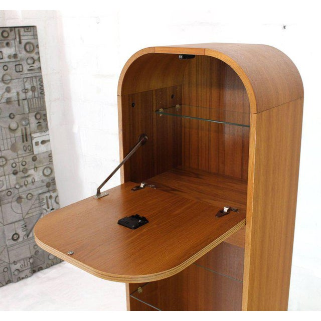 Brown Secret Compartment Grandfather Clock Danish Modern Teak Bookcase Shelf For Sale