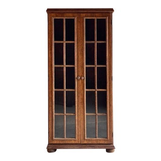 1950 English Mid Century Oak Bookcase Display Cabinet For Sale