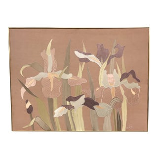 Mid-Century Irises on Silk Textile Art Collage For Sale