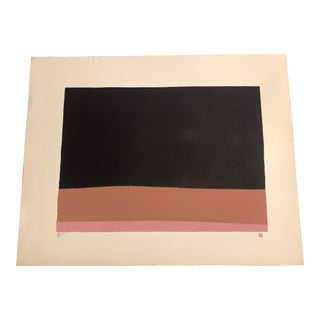 Black, Pink & Terracotta Colored Minimalist Hand-Painted Serigraph 3/5 by Geoffrey Graham For Sale