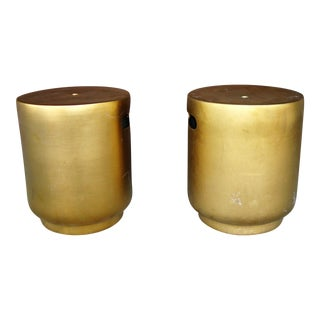 Gold Ceramic Stools - A Pair For Sale