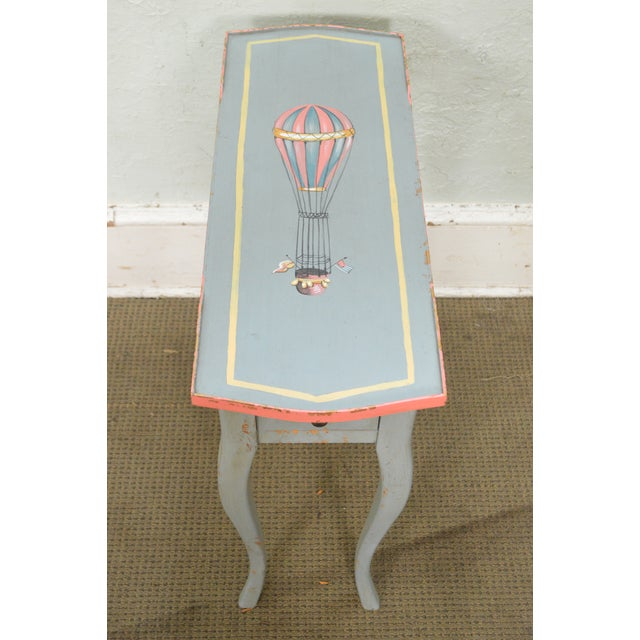 French Louis XV Style Hand Painted Narrow 1 Drawer Side Table w/ Hot Air Balloon For Sale - Image 9 of 11