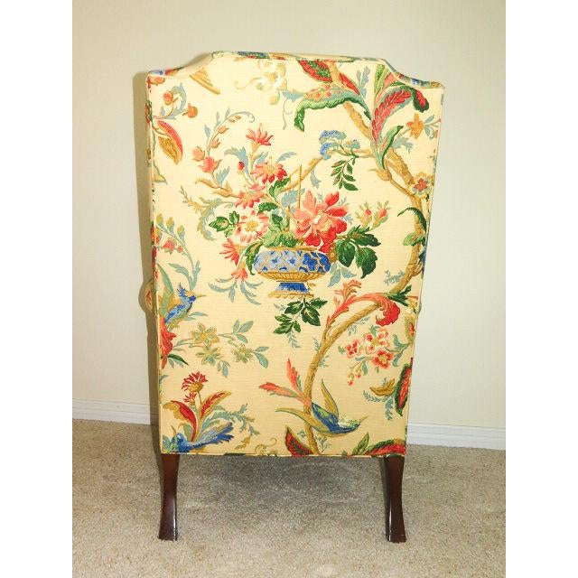 Queen Anne Style Floral Upholstered Wing-Backed Chairs - a Pair For Sale - Image 12 of 13