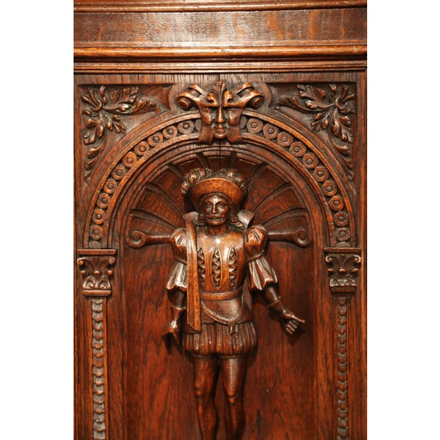 Pair of 19th Century French Henri II Carved Oak Doors With High Relief Carvings For Sale In Dallas - Image 6 of 8