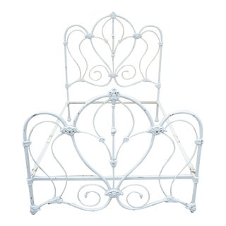 Antique Victorian Cast Iron Ornate White Scrollwork Full Size Metal Bed Frame For Sale