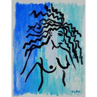 Absstract Fauvist Nude in Blue For Sale