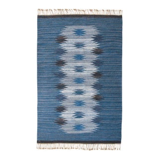 "HANDMADE SWEDISH FLAT-WEAVE CARPET, SIGNED ""ML"", 1950S For Sale"