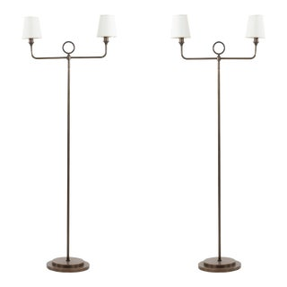 Bronze Floor Lamps for Baker - a Pair For Sale