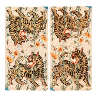 Handwoven Tan, Orange and Black Tibetan Wool Tiger Area Rugs - A Pair For Sale