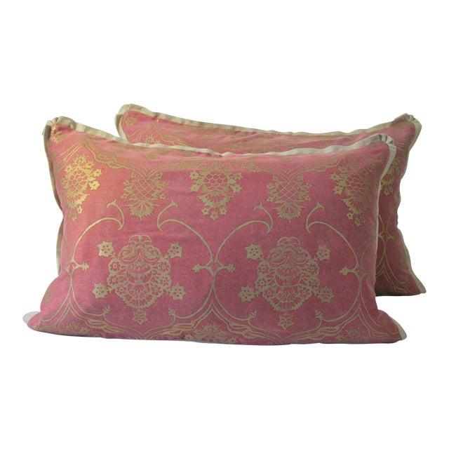 Modern Belgian Linen Fortuny Pillows- A Pair For Sale