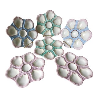 6 Antique French Porcelain Oyster Plates For Sale