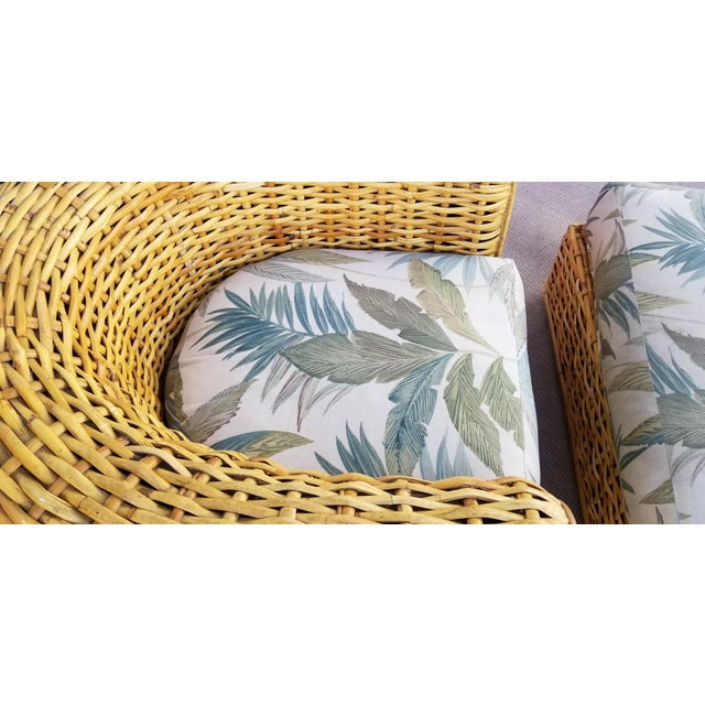 Wood XL- Ralph Lauren Tropical Woven Rattan Chair and Ottoman For Sale - Image 7 of 13