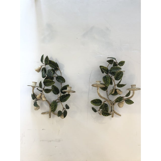 Tole & Iron Painted Pear & Leafy Wall Sconces - a Pair For Sale - Image 13 of 13